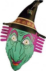 Aufblasbare Hexen-Dekoration Halloween-Partydeko grün-lila 38x78cm