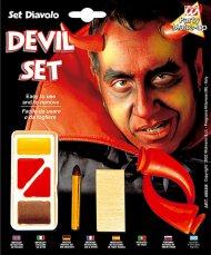 Düsteres Teufel-Schminkset Halloween Make-up rot-braun-gelb