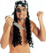 Piraten-Perücke mit Kopftuch und Augenklappe