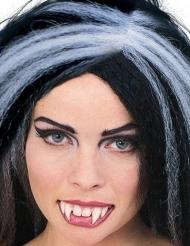 Vampir-Gebiss mit Zahnklebe - weiss