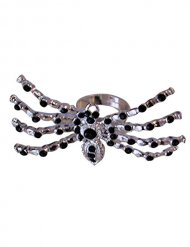 Spinnenring Halloween-Accessoire schwarz-silber