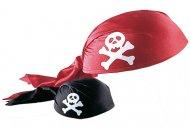 Piraten-Kopfbedeckung Kostümzubehör rot-weiss