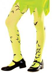 Fledermaus-Kinderstrumpfhose Halloween-Motiv neongelb