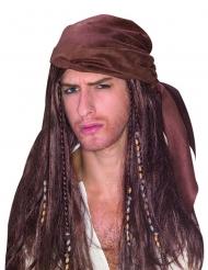 Piraten-Perücke für Männer braun