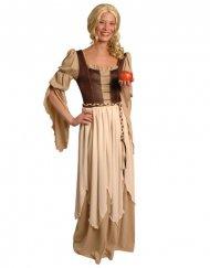 Mittelalterliches Magd-Kostüm braun-beige