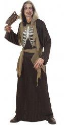 Totengräber Halloween-Kostüm Skelett schwarz-braun-weiss