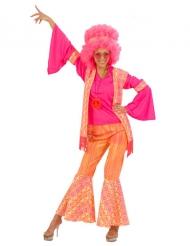 Lustiges Hippie-Kostüm für Damen pink-orange