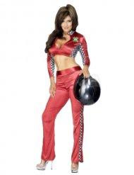 Sexy Rennfahrer Pilotin Kostüm für Damen rot