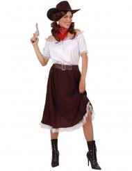 Weiß und braun Cowgirl Kostüm für Damen