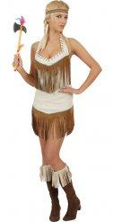 Indianer-Squaw Kostüm für Damen braun-weiss