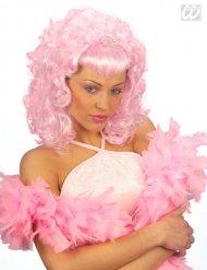 Perücke mit Diadem rosa Prinzessin Damen