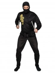 Ninja Kostüm schwarz-gold Erwachsene