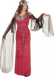 Edles Damenkostüm Mittelalter rot-silber