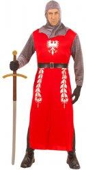 Mittelalterliches Ritter-Kostüm für Männer rot-silber