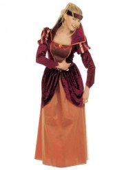 Mittelalterliches Burgfräulein königliches-Damenkostüm rot-orange