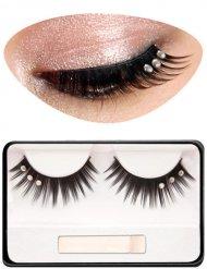 Zauberhafte Wimpern mit Strass Make-up-Zubehör schwarz-silber