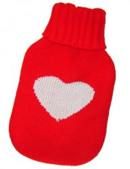 Gedruckte Socke für Wärmflasche mit Herz 15 x 26cm