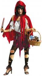 Halloween-Damen-Kostüm - Zombie-Rotkäppchen - schwarz/weiss/rot