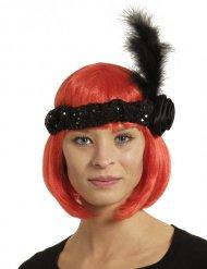 Charleston Stirnband mit Feder schwarz