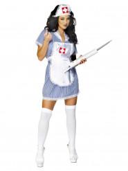 Blau-weiß sexy Krankenschwester Kostüm Damen