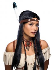 Indianer lange schwarze Perücke