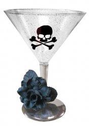 Cocktailbecher Totenschädel mit Rose transparent 350ml