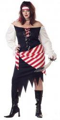 Piraten-Damenkostüm für Fasching Ruby Red schwarz-weiss-rot