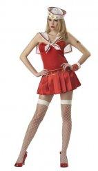 Sexy Matrosen-Kostüm für Damen rot-weiß