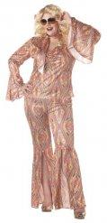 Rainbow 70er-Jahre Disco-Kostüm für Damen Übergröße bunt