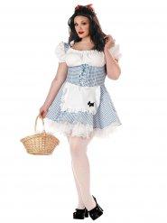 Fleißiges Mädchen Damenkostüm Übergröße weiss-blau