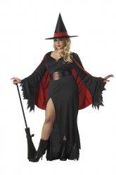 Magisches Hexenkostüm für Damen schwarz-rot