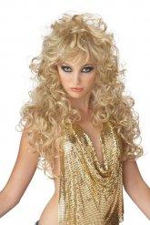 Lange Perücke blond für Damen 80er