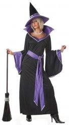 Elegantes Hexenkostüm für Damen Halloween-Verkleidung schwarz-lila