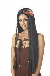Indianer Perücke langes Haar schwarz