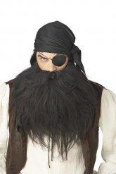 Voluminöser Piratenbart Piraten-Accessoire schwarz