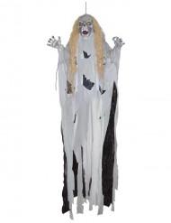 Dämonische-Hängegeist Halloween Raumdekoration weiss-schwarz 360cm