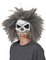 Accessoire Skelettschädel mit grau-weißem Haaren