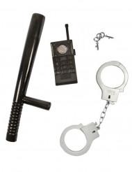 Polizisten-Kinderset 3-teilig schwarz-grau