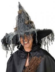 Gruseliger Hexen-Hut für Damen schwarz-grau