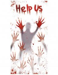 Help Us Halloween Türdeko weiß-grau-rot
