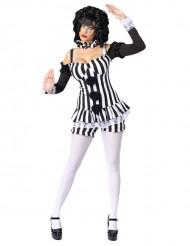 Zirkus-Clownkostüm Harlekin für Damen schwarz-weiss