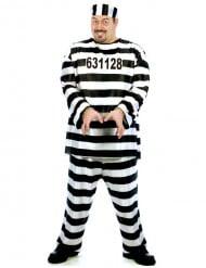 Sträflings-Kostüm Gefangener für Herren Plus Size schwarz-weiss