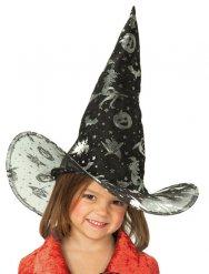 Hexenhut Kürbisse und Hexen für Kinder schwarz-silber