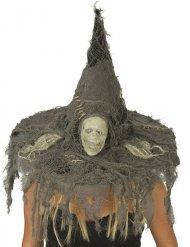 Gruseliger Hexenhut mit Totenkopf grau-beige