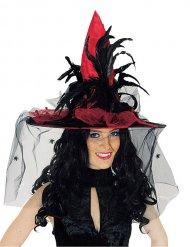 Hut roter Satin mit Schleier und Federn Erwachsene Halloween