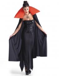 Umhang Vampir schwarz und rot Damen Halloween