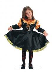 Kleine Kürbis-Fee Kinderkostüm für Mädchen schwarz-orange