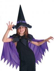Umhang violett mit schwarzem Hexenhut Mädchen