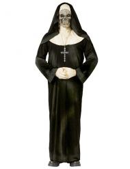 Skelett-Nonne Halloween Damenkostüm schwarz-weiss