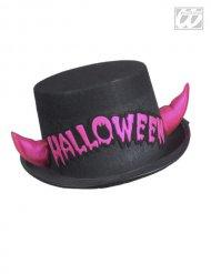 Zylinder mit Halloween-Applikation und Hörnern schwarz-pink